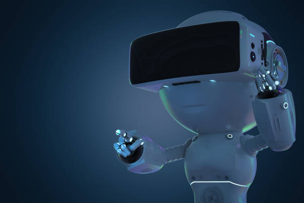 mini robot with vr headset stock photo