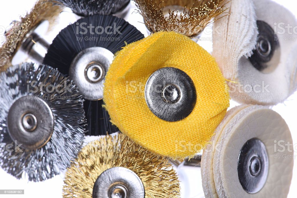 Mini rotary drill tools isolated on white background stock photo
