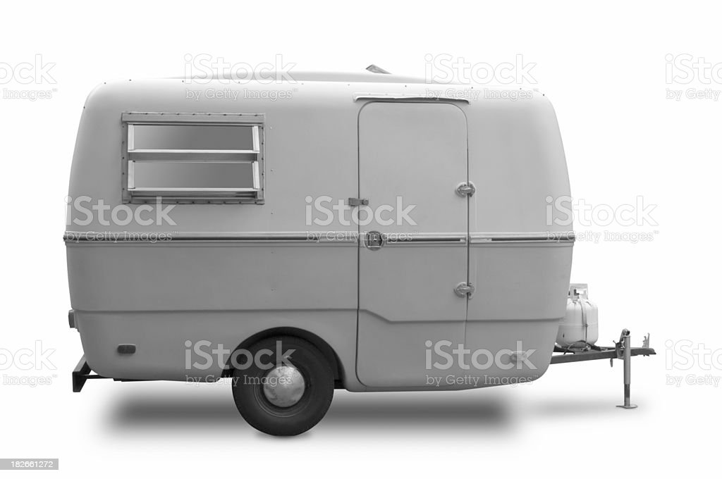 Mini RV Black & White Trailer stock photo