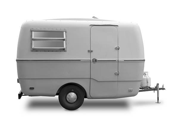 Mini RV Black & White Trailer stock photo