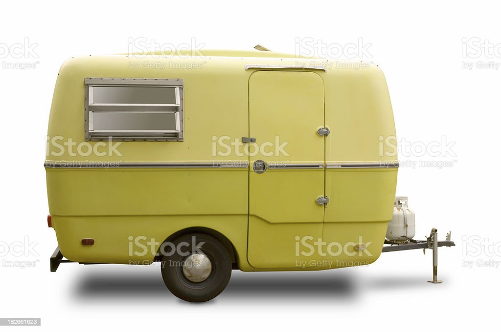 Mini RV Yellow Trailer stock photo