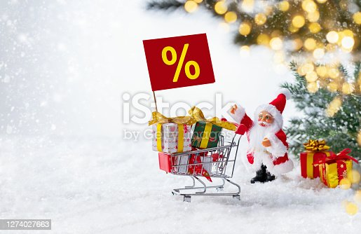 Santa Claus on a white snowy background shows with his hand on shopping cart full gift boxes and percent sign . Defocused shiny lights on a fir tree branch. Christmas sale concept.