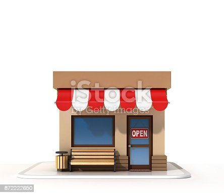 istock Mini store on a white background 3d rendering 872222650