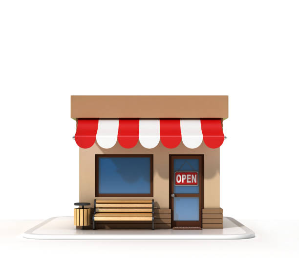 mini store on a white background 3d rendering - icona supermercato foto e immagini stock