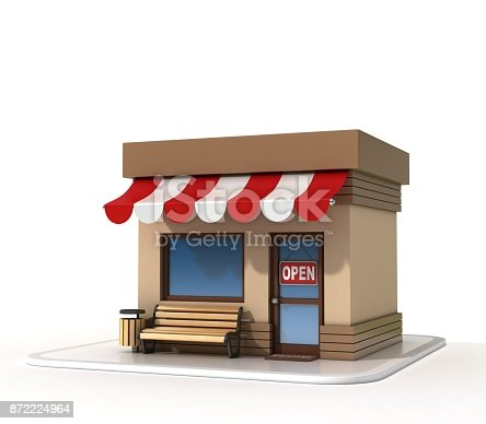 istock Mini store on a white background 3d rendering 872224964