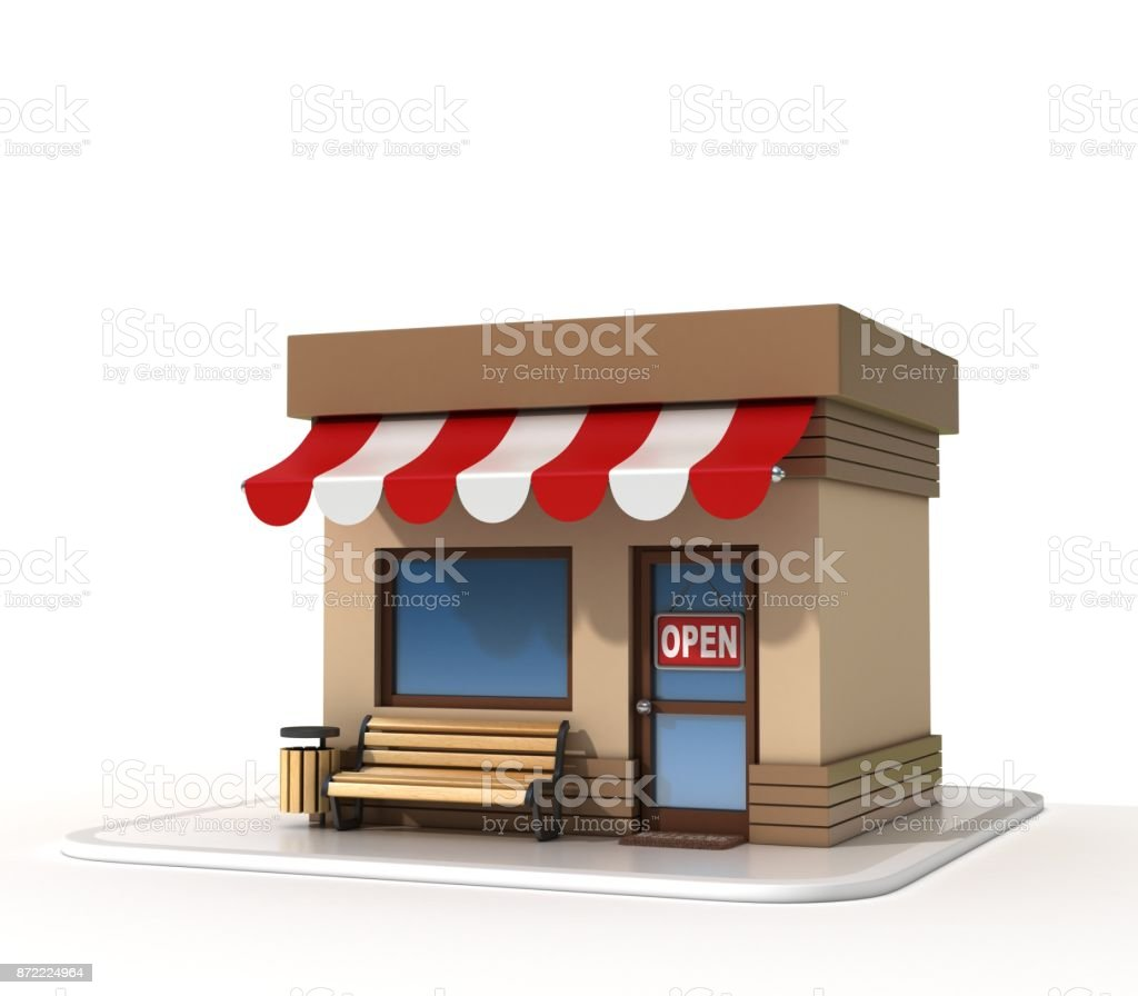 Mini store on a white background 3d rendering stock photo