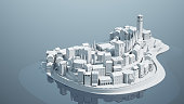 Mini toy Old city down town on small iland, 3d rendering