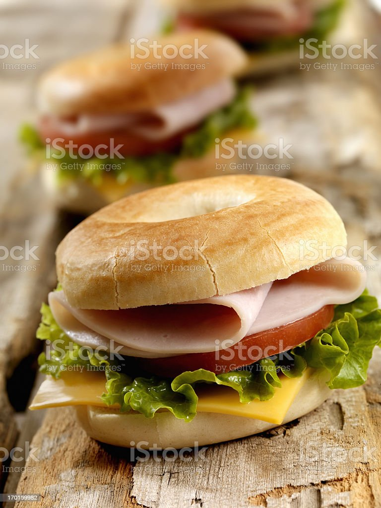 Mini Turkey Bagel Sandwiches stock photo