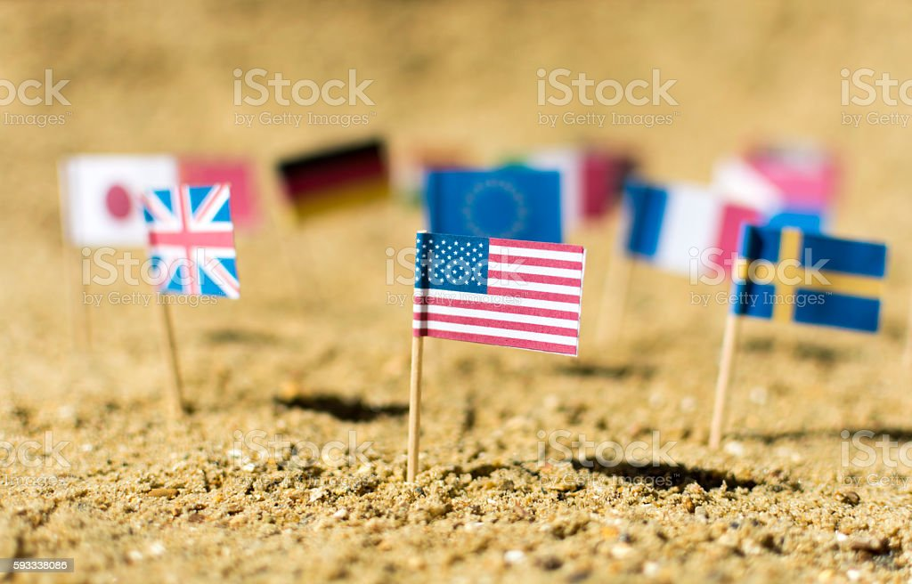 Mini USA flag with others stock photo