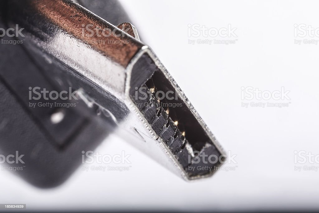 Mini USB plug close up stock photo