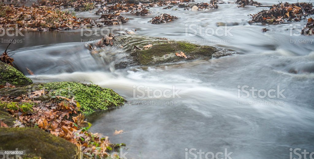Mini waterfall with silk stream water stock photo