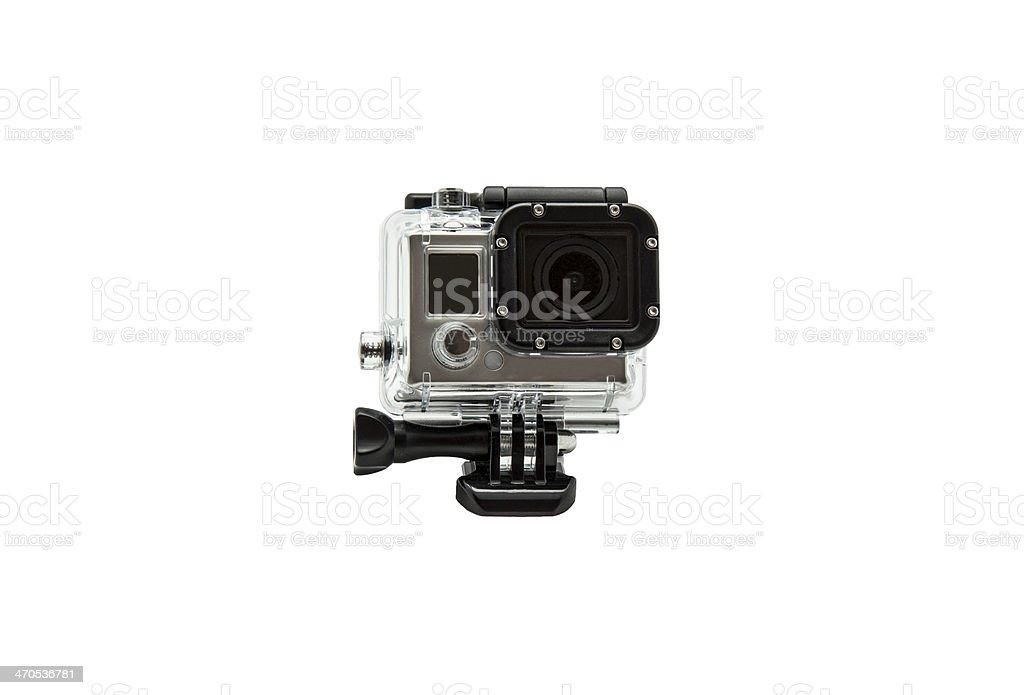 mini waterproof camera isolated on white background stock photo
