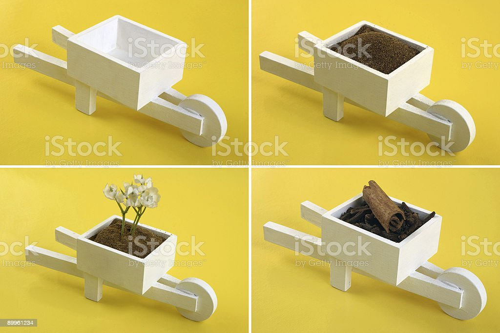 Mini wheelbarrow royalty-free stock photo