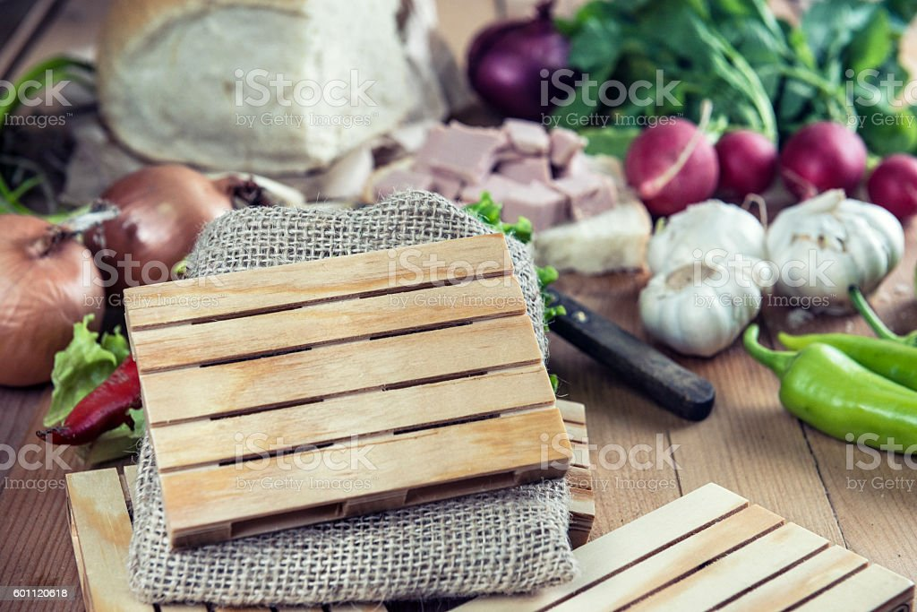Mini Wooden palettes with Copy space in front Fresh Vegetables stock photo