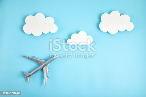 624266324 istock photo Miniature airplane. Travel tourism, airlines, low cost flights concept. Top view, flat lay. 1202578443