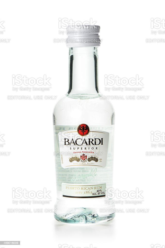 Miniature Bacardi bottle stock photo