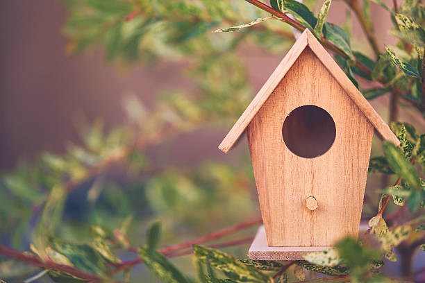 Miniature birdhouse decoration hanging on branches of willow tree stock photo