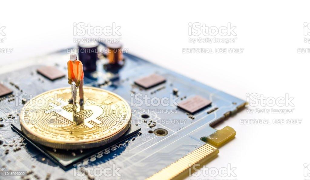 Miniature bitcoin miner stock photo