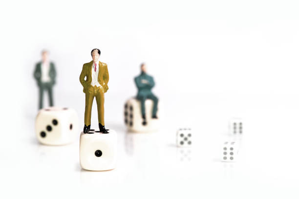 miniature business concept, succes and goal, isolate on white - figurine stock photos and pictures