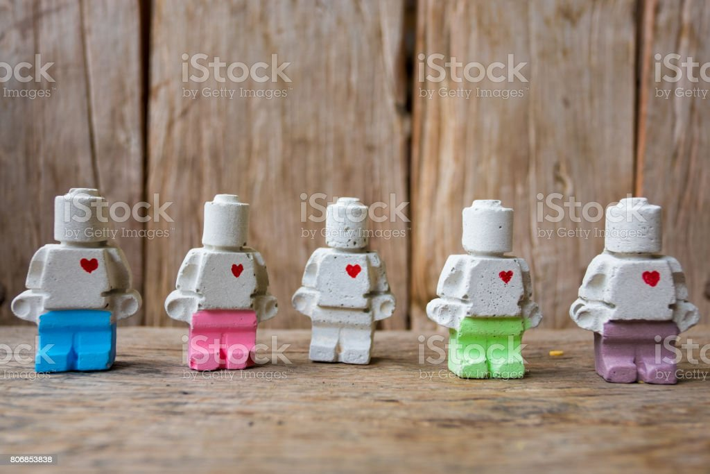 Miniature clay doll on the bottom rightof image stock photo