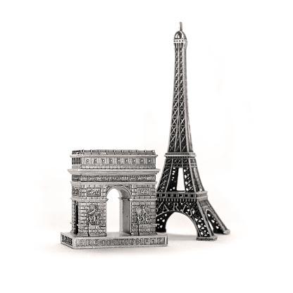 Miniature Eiffel Towers and Arcs de Triomphe as tourist souvenirs
