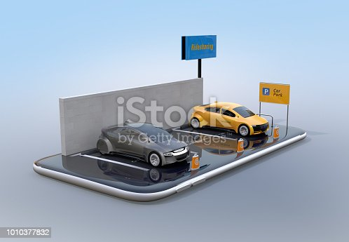 istock Miniature electric cars on smartphone 1010377832