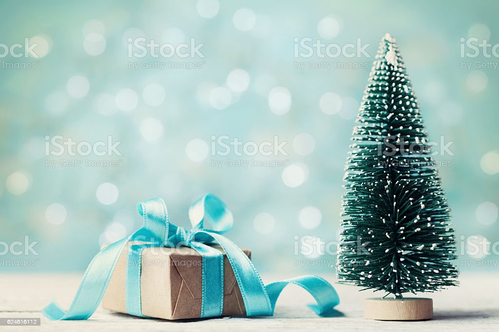 Miniature fir tree and christmas gift box. Holiday greeting card.