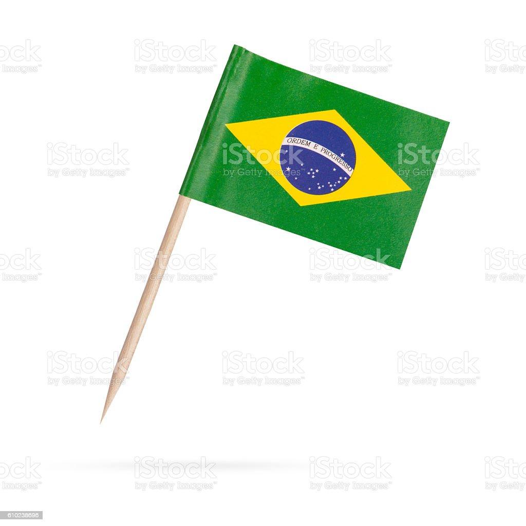 Miniature Flag Brasil. Isolated on white background - foto de acervo