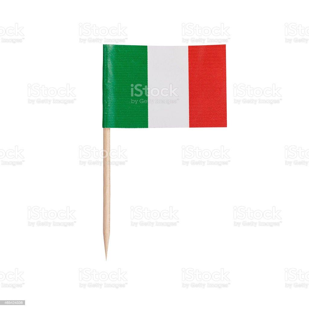 Bandera miniatura de Italia. Aislado sobre fondo blanco - foto de stock