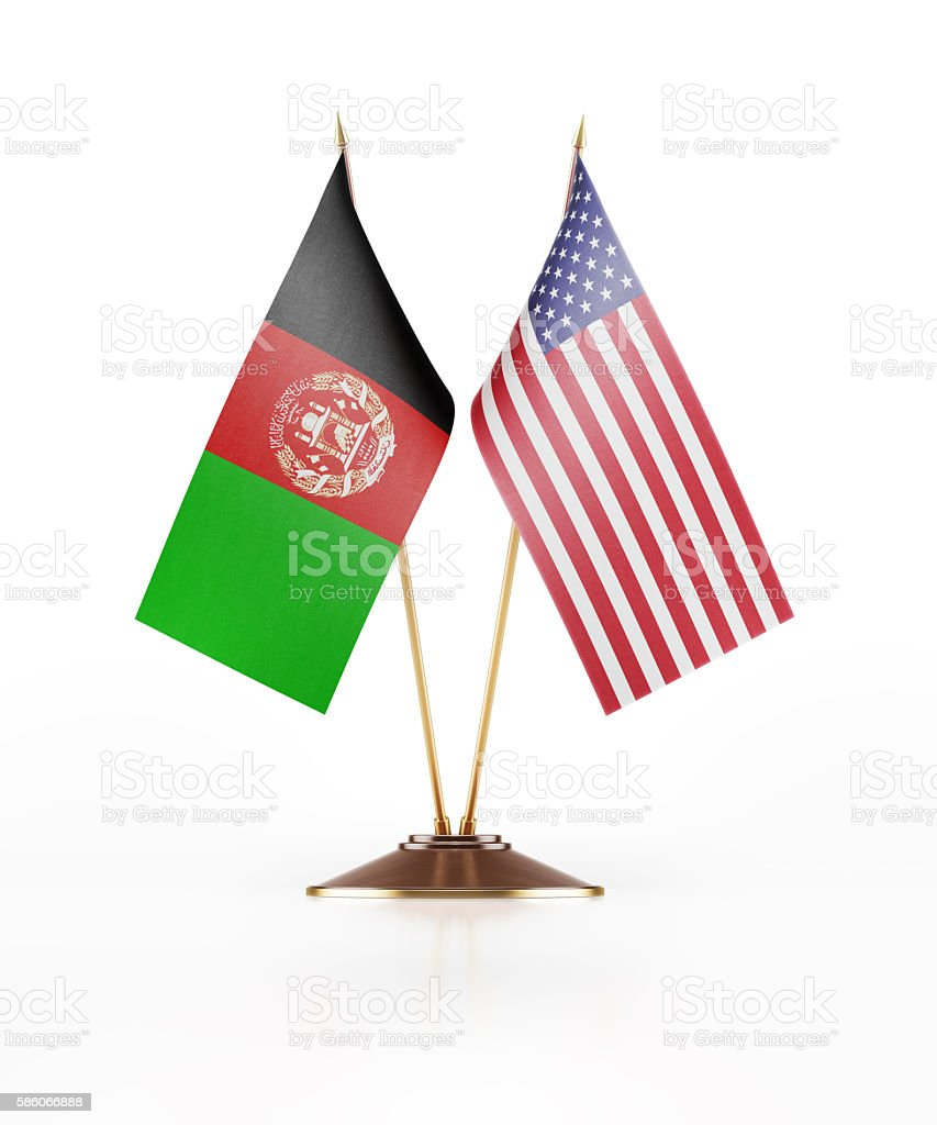 Miniature Flag of Afghanistan and United States of America stock photo