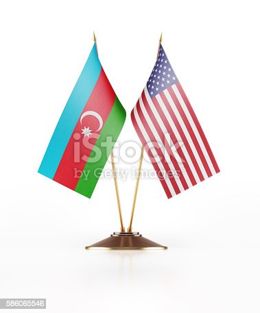 istock Miniature Flag of Azerbaijan and United States of America 586065546