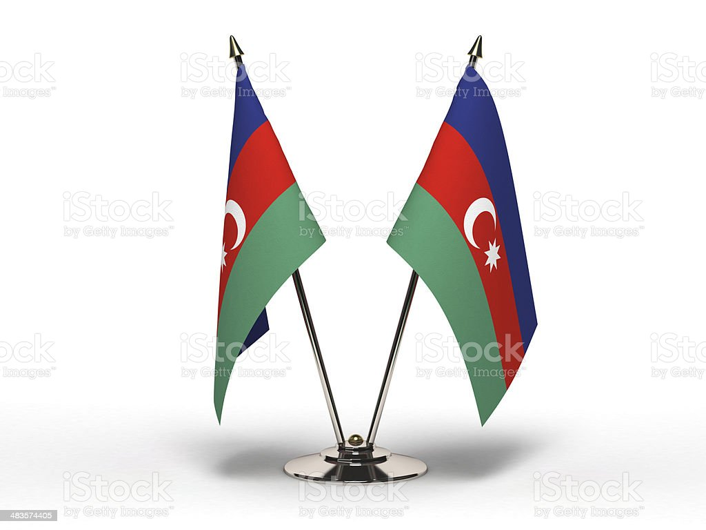 Miniature Flag of Azerbaijan (Isolated) stock photo