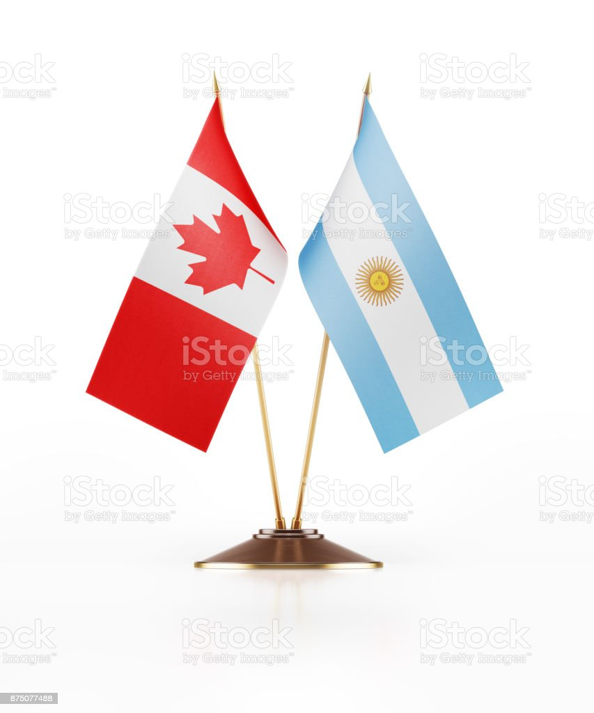 Miniature Flag of Canada and Argentina stock photo