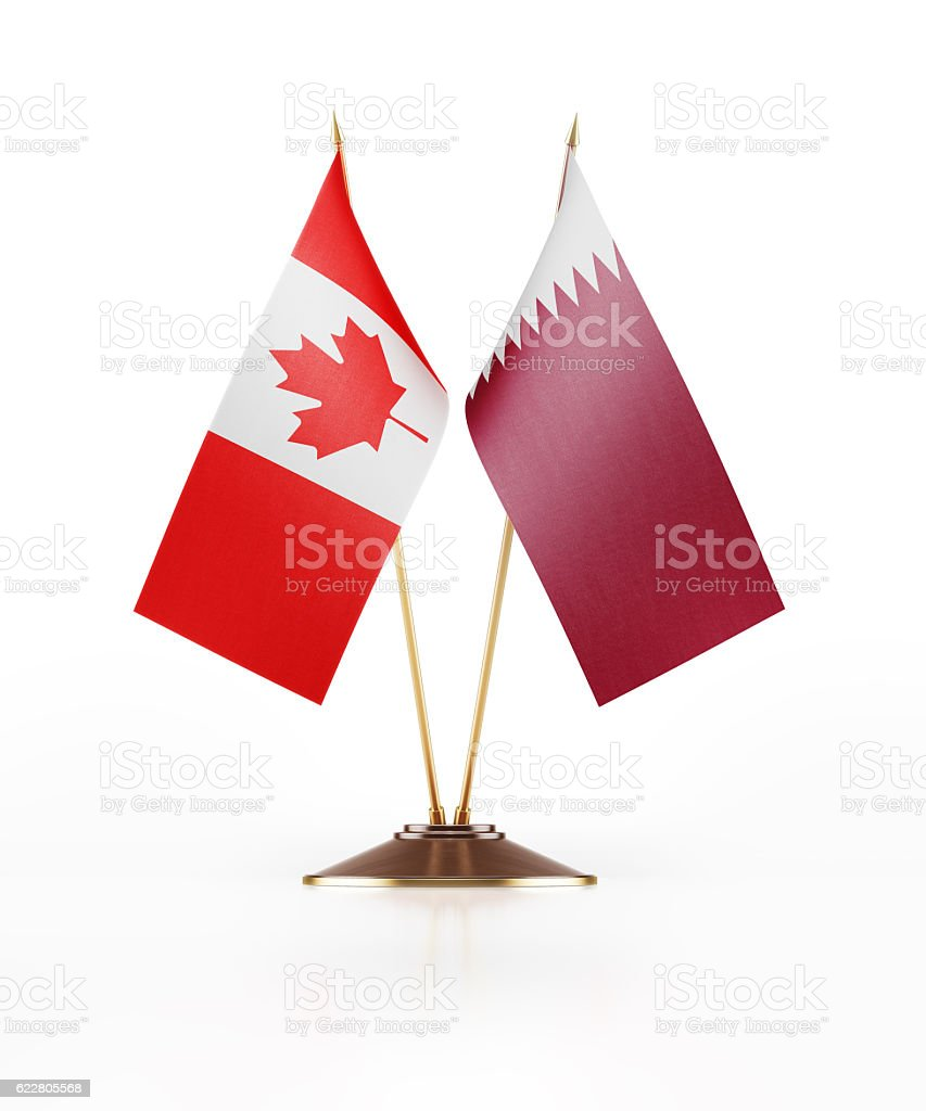 miniature flag of canada and qatar stock photo 622805568 istock