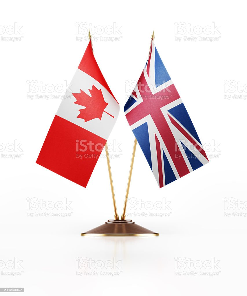 Miniature Flag of Canada and United Kingdom stock photo