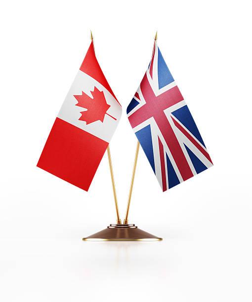 Miniature Flag of Canada and United Kingdom stock photo