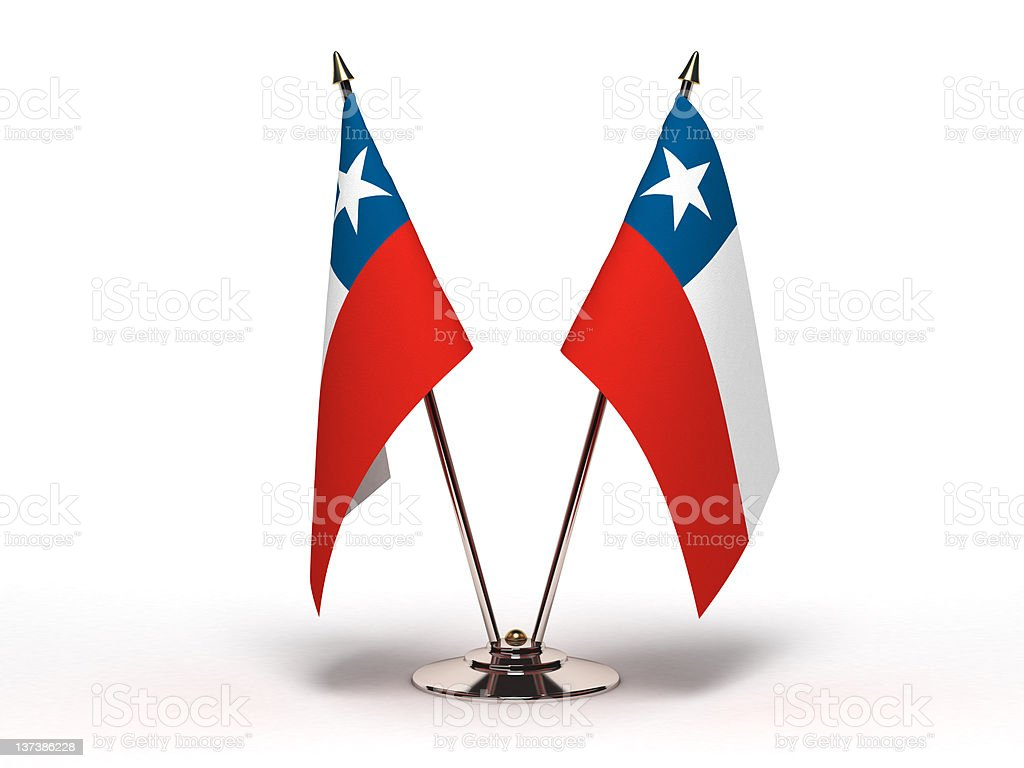 Miniature Flag of Chile (Isolated) stock photo