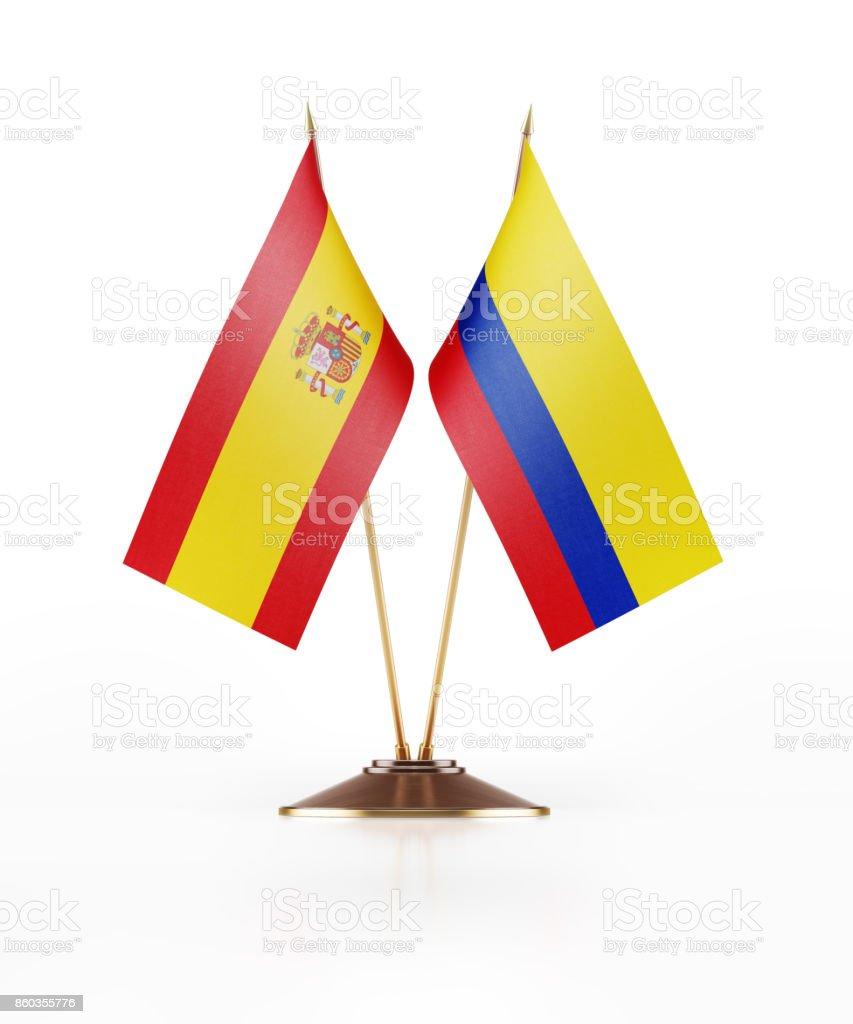 Bandera miniatura de Colombia y España - foto de stock