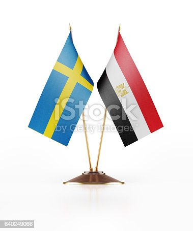 istock Miniature Flag  of Egypt and Sweden 640249066