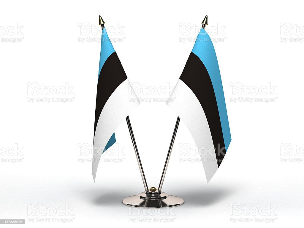 Miniature Flag of Estonia (Isolated) stock photo