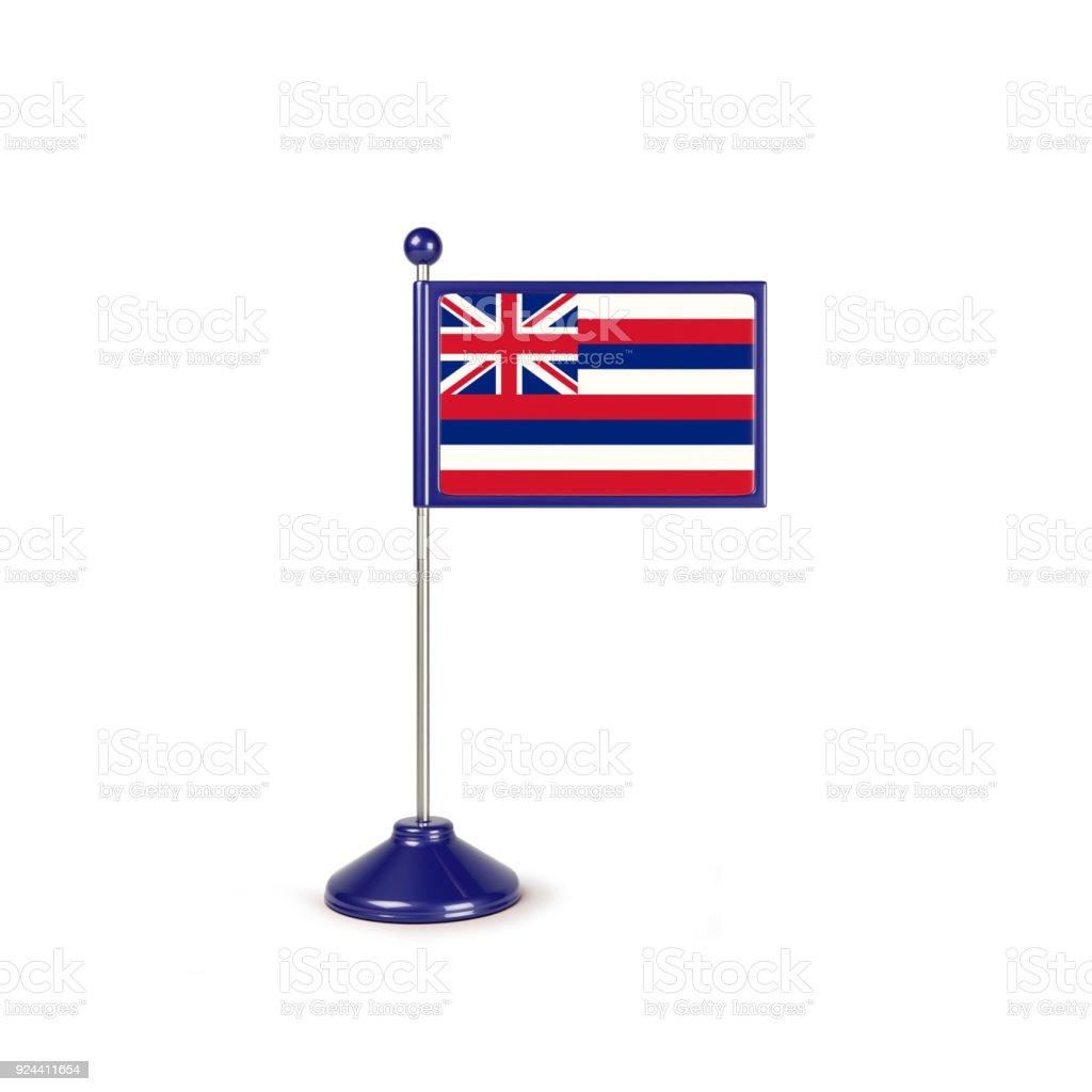 Bandeira de miniatura de Hawaii.Isolated em fundo branco - foto de acervo