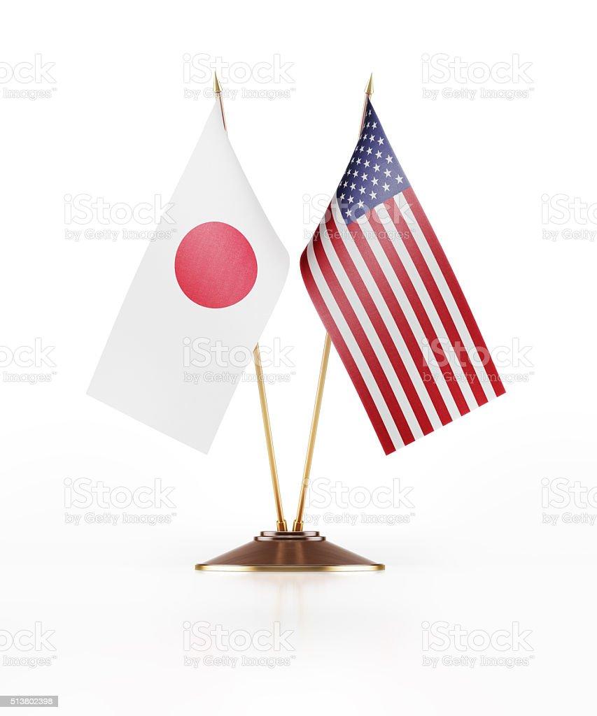 Miniatura Bandeira do Japão e nos EUA - foto de acervo