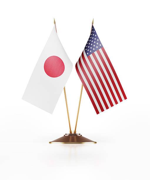 Bandera miniatura de Japón y EE. UU. - foto de stock