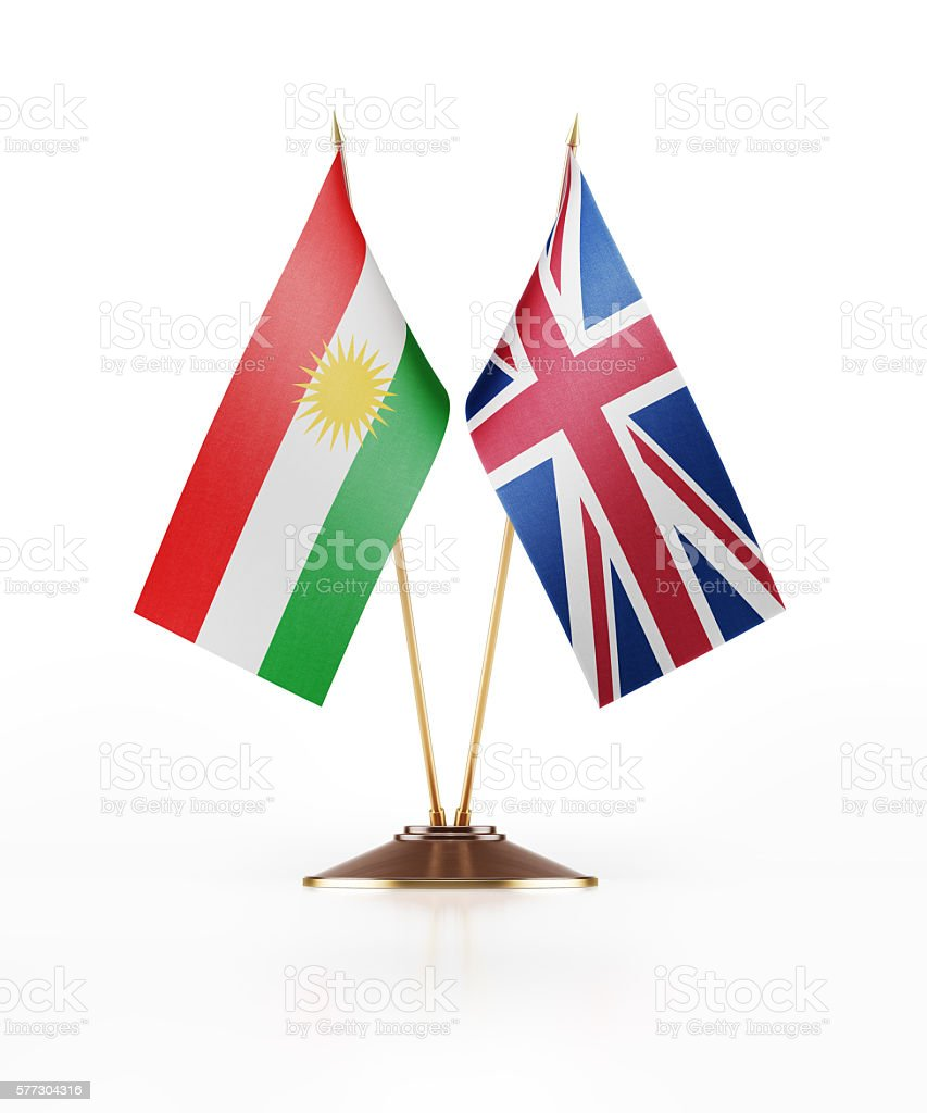 miniature flag of kurdistan and great britain stock photo