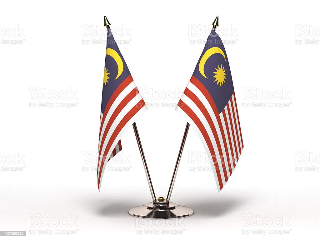 Miniatura bandeira da Malásia (isolado - foto de acervo
