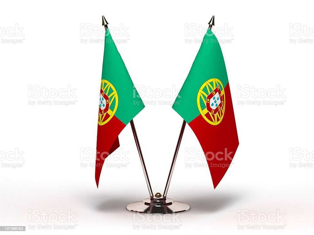 Miniature Flag of Portugal (Isolated) stock photo