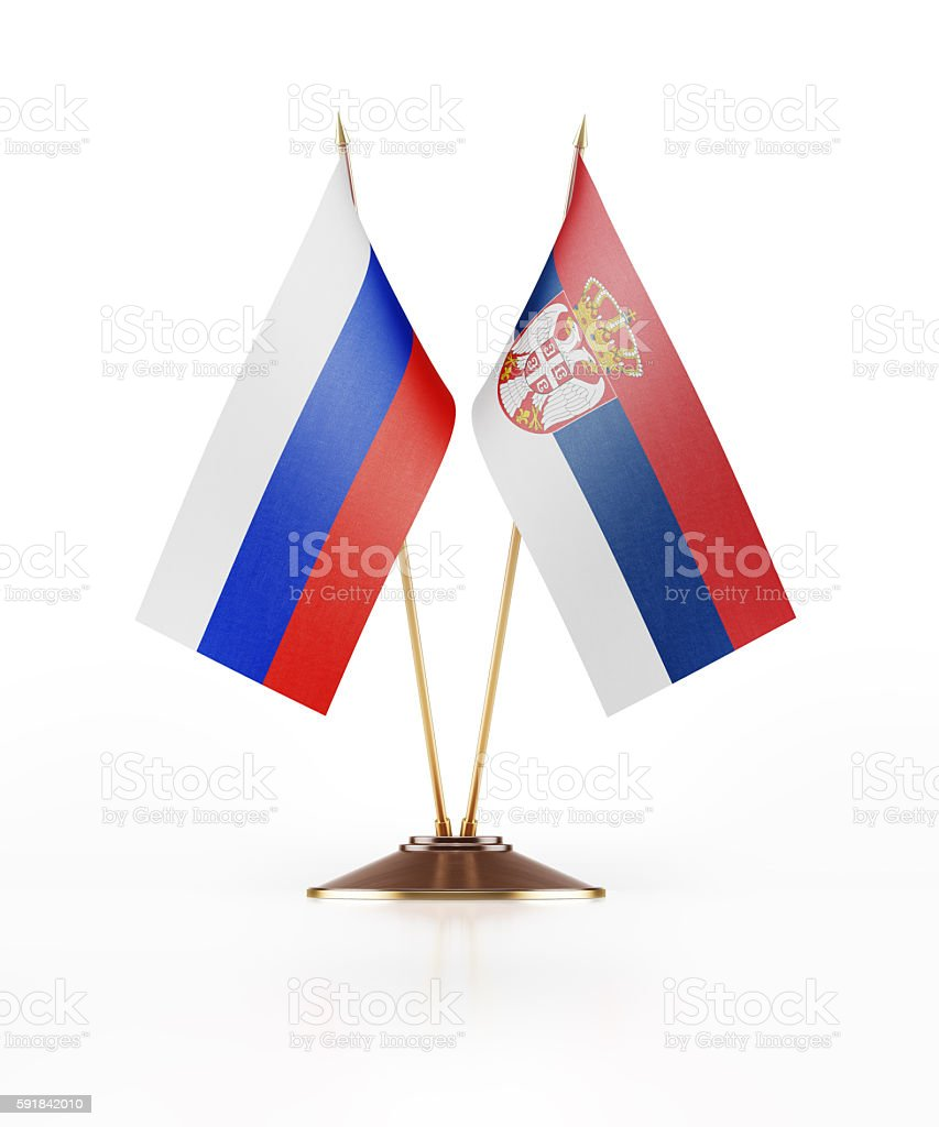 Miniature Flag of Russia and Serbia - fotografia de stock