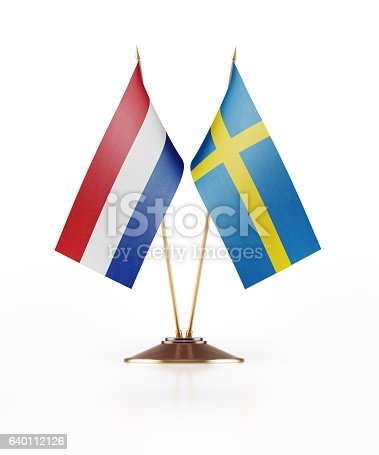 istock Miniature Flag  of Sweden and Holland 640112126