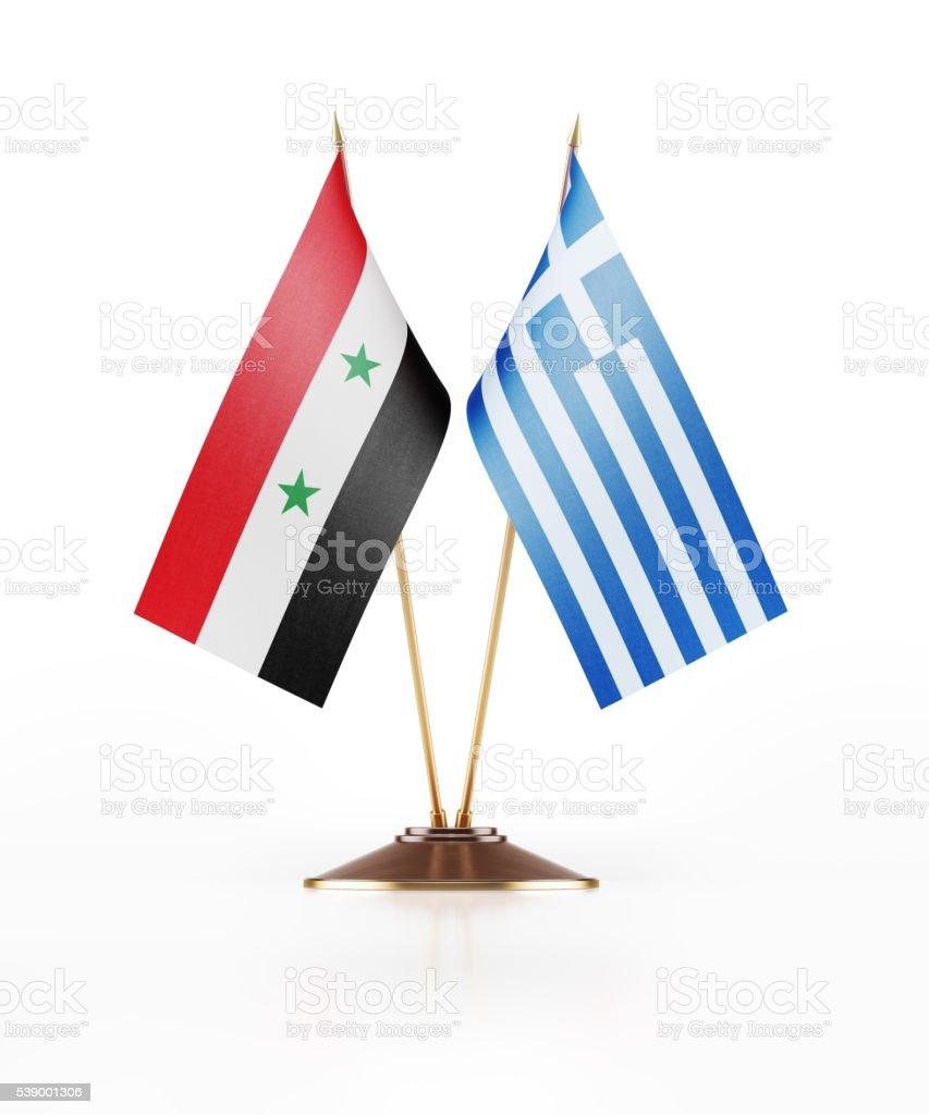 Miniatura bandera de siria y Grecia - foto de stock
