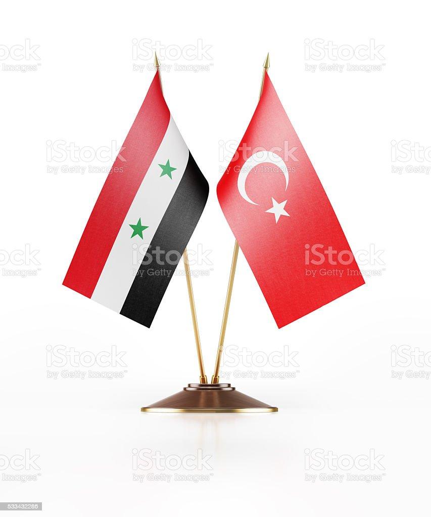 Miniature Flag of Syria and Turkey - foto de stock